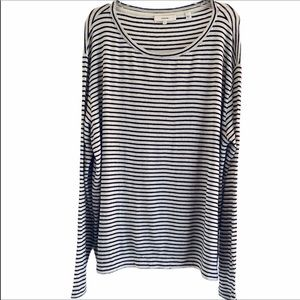 Vince Cream Black Striped Lightweight Sweater